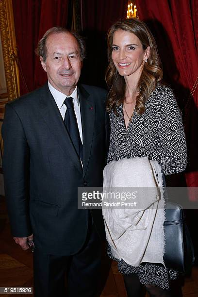 Academician JeanMarie Rouart and Writer Felicite Herzog attend writer Marc Lambron receives L'Epee d'Academicien of Academie Francaise on April 6...