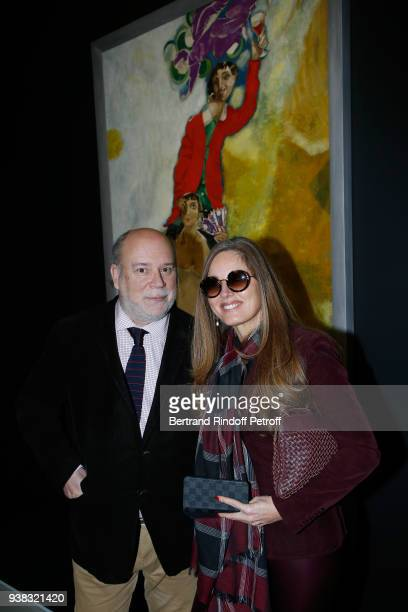 Academician Marc Lambron and Delphine Marang Alexandre attend the Chagall Lissitzky Malevitch L'Avantgarde Russe a Vitebsk 19181922 Press Preview at...