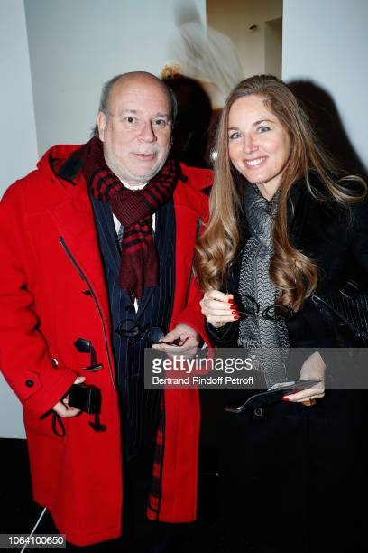Academician Marc Lambron and his wife Delphine Alexandre attend the Inauguration of the Exhibition Michael Jackson On The Wall at Grand Palais on...