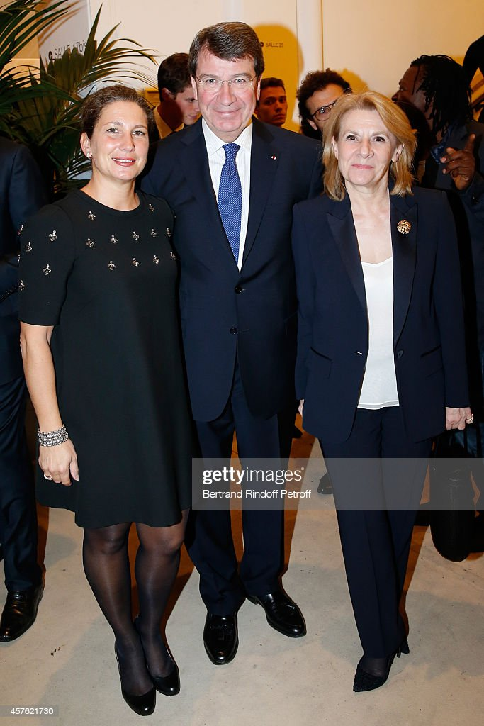 Academician Xavier Darcos with his wife Laure and President of the Versailles Castle, Catherine Pegard attend the 'Diner des Amis du Musee d'Art Moderne' at Musee d'Art Moderne on October 21, 2014 in Paris, France.