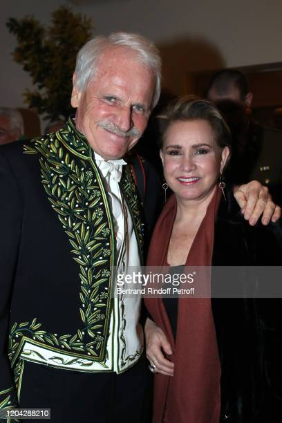 Academician Yann ArthusBertrand and Grand Duchess Maria Theresa of Luxembourg attend the Installation of Frederic Mitterrand at the Academie des...
