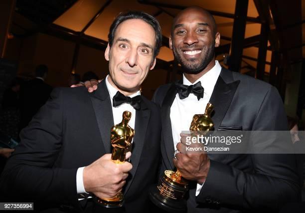 Academy Award Winner for Best Music Alexandre Desplat and Academy Award Winner for Best Short Film Kobe Bryant attend the 90th Annual Academy Awards...