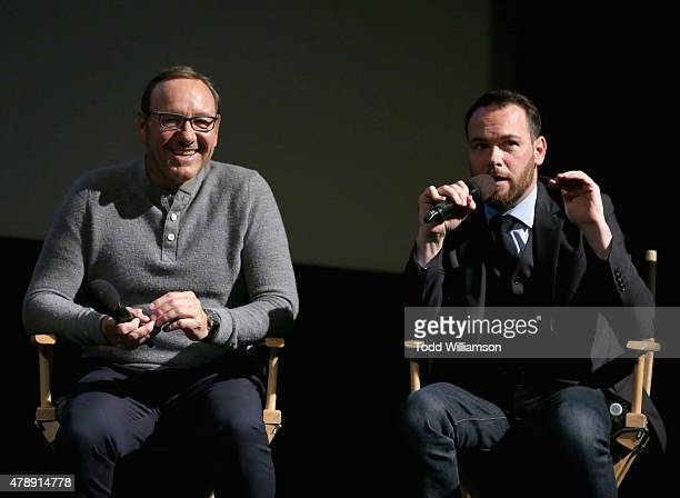 Academy Award winner Kevin Spacey and President of Trigger Street Productions Dana Brunetti speak onstage at the Jameson First Shot short film...