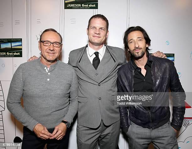 Academy Award winner Kevin Spacey Jameson First Shot competition winner Travis Calvert and Academy Award winner Adrien Brody celebrated the Jameson...
