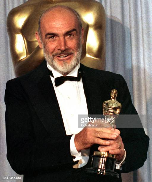 Academy Award winner Sean Connery backstage with his Oscar Award, April 11,1988 in Los Angeles, California.