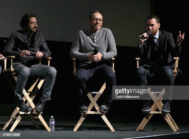 Academy Award winners Adrien Brody and Kevin Spacey and President of Trigger Street Productions Dana Brunetti speak onstage at the Jameson First Shot...