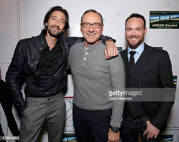 Academy Award winners Adrien Brody, Kevin Spacey and President of Trigger Street Productions, Dana Brunetti celebrated the Jameson First Shot short...