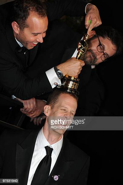 Academy Award winners for Best Animated Film Up share a joke at the Vanity Fair Dinner And After Party celebrating the 82nd Academy Awards in West...
