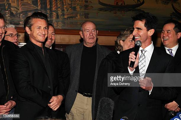 Academy Award winning actor Sean Penn and Senator Mark Leno attend the Harvey Milk Day press conference at Tosca Cafe on March 3 2009 in San...