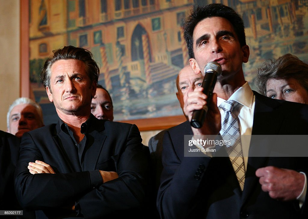 Academy award winning actor Sean Penn (L) looks on as California Sen. Mark Leno (R) speaks during a press conference announcing legislation to create a Harvey Milk Day in California March 3, 2009 in San Francisco, California. Actor Sean Penn and California State Sen. Mark Leno (D-San Francisco) announced legislation that will be introduced to create a Harvey Milk Day in California to recognize the efforts of the slain gay rights activist.