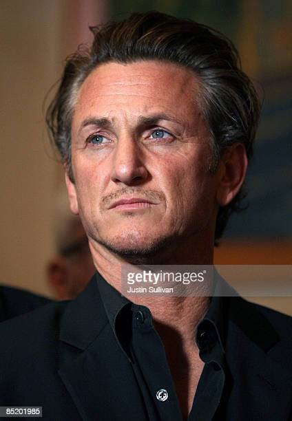 Academy award winning actor Sean Penn looks on during a press conference announcing legislation to create a Harvey Milk Day in California March 3...