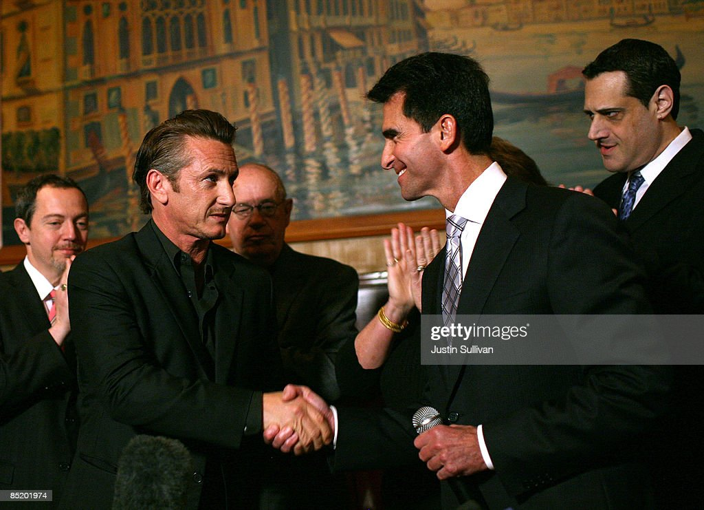 Academy award winning actor Sean Penn (L) shakes hands with California Sen. Mark Leno (R) during a press conference announcing legislation to create a Harvey Milk Day in California March 3, 2009 in San Francisco, California. Actor Sean Penn and California State Sen. Mark Leno (D-San Francisco) announced legislation that will be introduced to create a Harvey Milk Day in California to recognize the efforts of the slain gay rights activist.
