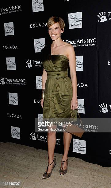 Academy Award winning actress Hilary Swank attends a celebration honoring Damiano Biella, the creative director of Escada, benefiting Free Arts NYC...