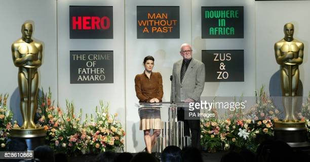 Academy Award winning actress Marisa Tomei left and Academy of Motion Picture Arts and Sciences President Frank Pierson right announced the nominees...