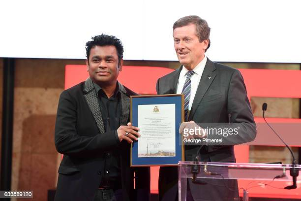 Academy Award winning composer AR Rahman and Toronto Mayor John Tory attend the Ideal Entertainment Launch at Sony Centre For Performing Arts on...