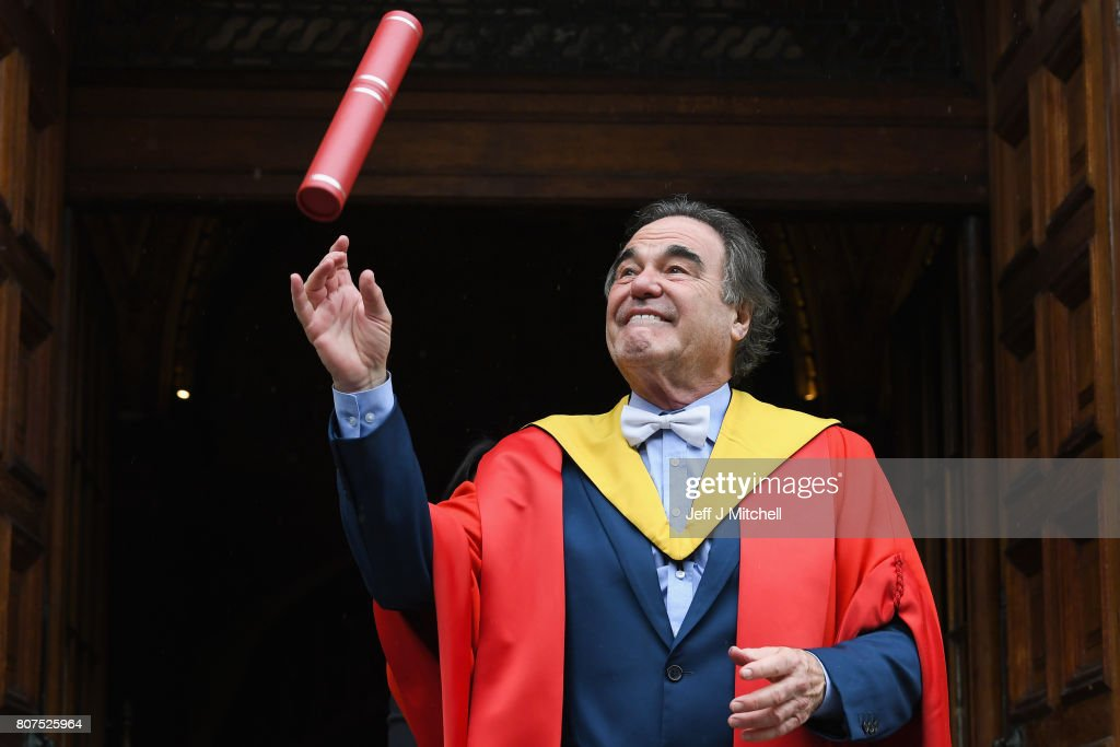 Academy award winning film director Oliver Stone, poses following receiving an honorary degree from the University of Edinburgh on July 4, 2017 in Edinburgh, Scotland. The filmmaker was awarded a degree of Doctor Honoris Causa in recognition of his prominent and politically engaging career in film. He has won three Academy Awards, as Best Director for his Vietnam War dramas Platoon, Born on the Fourth of July and for Best Adapted Screenplay, as writer of Midnight Express.