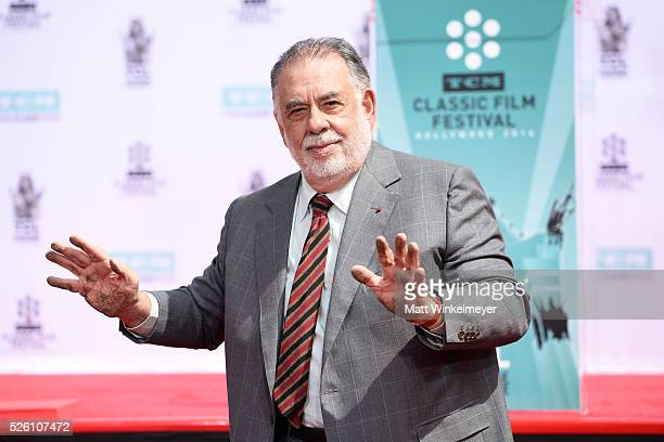 Academy Award winning filmmaker Francis Ford Coppola poses for a photo after he applied his handprint as TCM honors him with a Hand/Footprint...