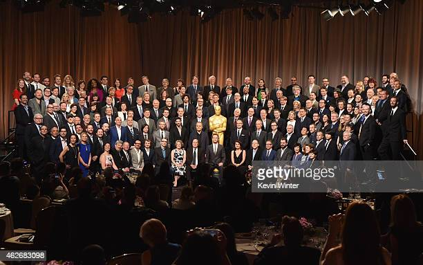 Academy Awards Host Neil Patrick Harris and nominees including actors Michael Keaton Eddie Redmayne JK Simmons Julianne Moore Emma Stone Ellar...