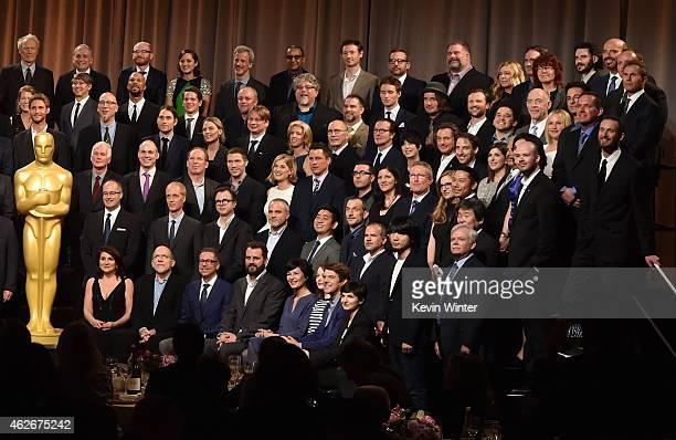 Academy Awards Nominees including actors Eddie Redmayne, J.K. Simmons, Rosamund Pike, Marion Cotillard, Steve Carell, Patricia Arquette, recording...