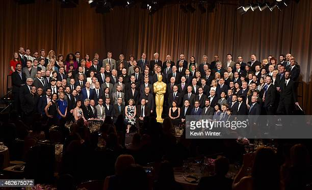Academy Awards Nominees including actors Michael Keaton Eddie Redmayne JK Simmons Julianne Moore Emma Stone Ellar Coltrane Laura Dern Reese...