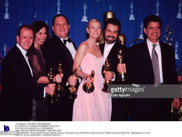 Pressroom E347905 011 03/21/99 Los Angeles California The 1999 Academy Awards 'The Oscars' Pressroom David Parfitt Donna Gigliotti Harvey Weinstein...