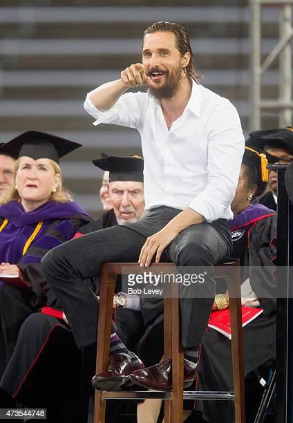Academy Award-winning actor Matthew McConaughey gives the University Of Houston Commencement Address at TDECU Stadium on May 15, 2015 in Houston,...