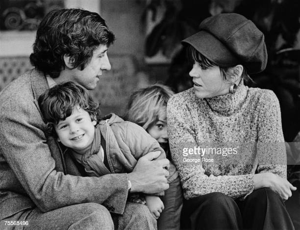 Academy Awardwinning actress Jane Fonda poses on the veranda of her home with husband Tom Hayden son Troy Garity and daughter Vanessa Vadim in this...