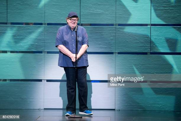 Academy Awardwinning filmmaker and political icon Michael Moore makes his broadway debut in 'The Terms of My Surrender' on July 28 2017 in New York...