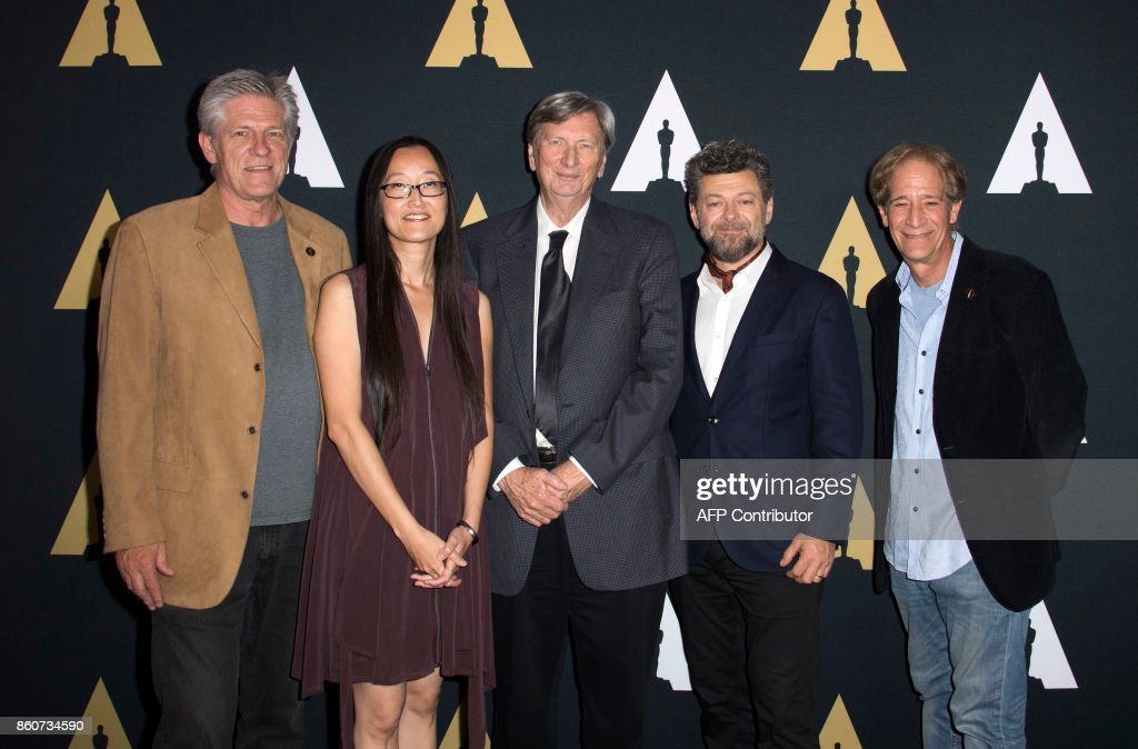Academy governor Bill Kroyer, director Jennifer Yuh Nelson, Academy president John Bailey, actor/director Andy Serkis and Academy governor Jon Bloom attend the 44th Students Academy Awards at the Academy of Motion Picture Arts and Sciences, on October 12, 2017, in Beverly Hills California. /