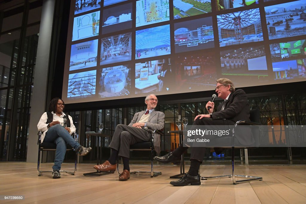 Academy Governor Whoopi Goldberg, Academy Museum Architect Renzo Piano, and Academy Museum Director Kerry Brougher speak onstage during the Academy Museum Conversation at The Times Center, featuring Whoopi Goldberg, Kerry Brougher and Renzo Piano on April 16, 2018 in New York City.