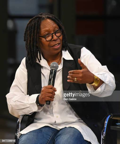 Academy Governor Whoopi Goldberg speaks onstage during the Academy Museum Conversation at The Times Center featuring Whoopi Goldberg Kerry Brougher...