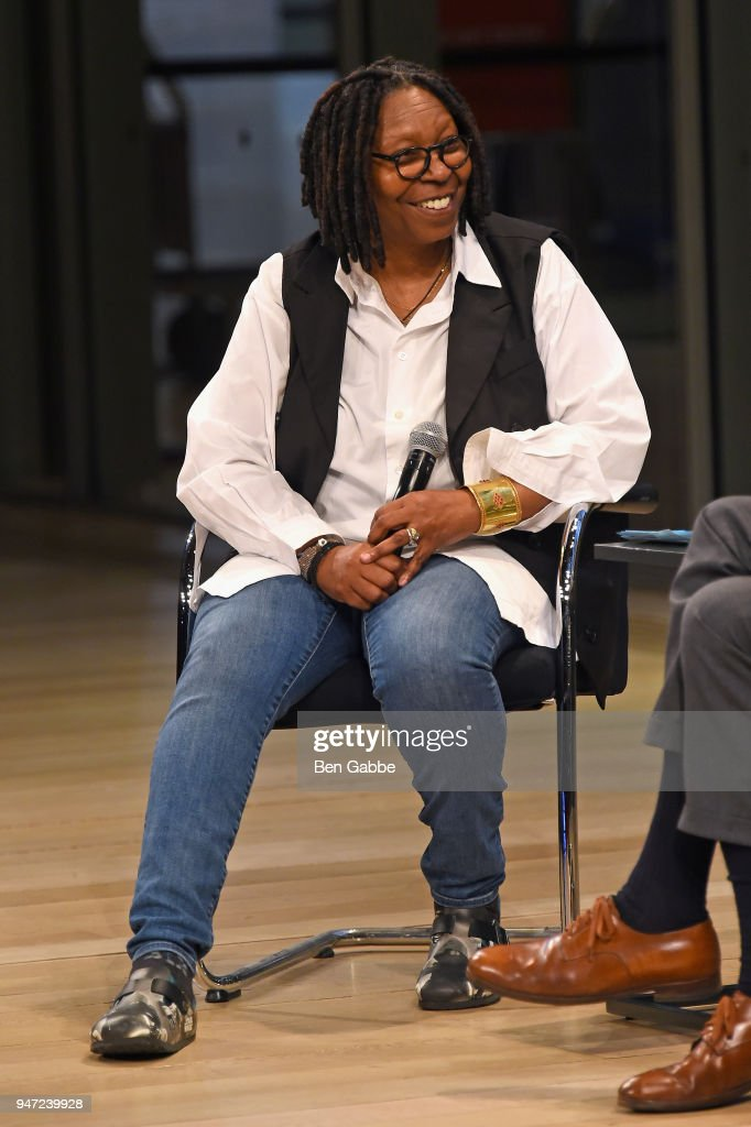 Academy Governor Whoopi Goldberg speaks onstage during the Academy Museum Conversation at The Times Center, featuring Whoopi Goldberg, Kerry Brougher and Renzo Piano on April 16, 2018 in New York City.
