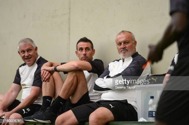 Academy Head of Coaching Ben Dawson sits with First Team Goalkeeping Coach Simon Smith and Head of Under 23 Coach Neil Redfearn as players return to...