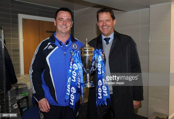 Academy manager Neil Bath of Chelsea with Frank Arnesen Sporting director of Chelsea after the FA Youth Cup Final 2nd leg match between Chelsea Youth...