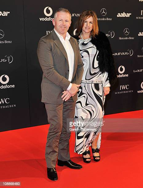 Academy member Sean Fitzpatrick and wife Bronwyn arrive for the Laureus Welcome Party as part of the 2011 Laureus World Sports Awards at Cipriani Yas...