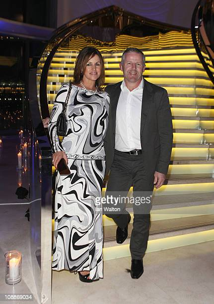Academy member Sean Fitzpatrick and wife Bronwyn attend the Laureus Welcome Party as part of the 2011 Laureus World Sports Awards at Cipriani Yas...