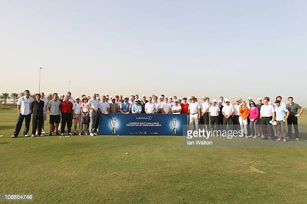 Academy Members including Gary Player,Boris Becker, Sir Bobby Charlton, Sean Fitzpatrick and Steve Waugh pose before taking part in the Laureus Golf...