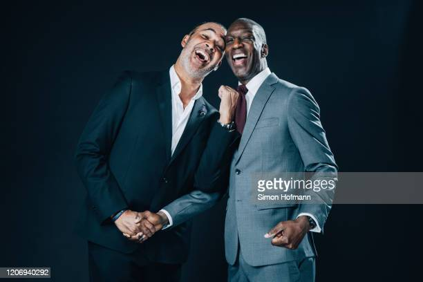 Academy Members Ruud Gullit and Michael Johnson pose prior to the 2020 Laureus World Sports Awards on February 17, 2020 in Berlin, Germany.