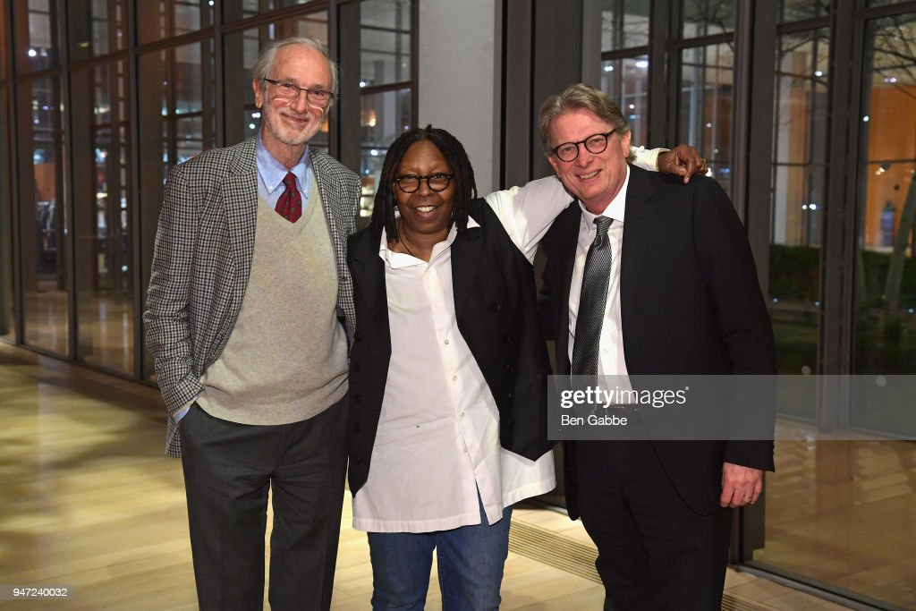 Academy Museum Architect Renzo Piano, Academy Governor Whoopi Goldberg, and Academy Museum Director Kerry Brougher attend the Academy Museum Conversation at The Times Center, featuring Whoopi Goldberg, Kerry Brougher and Renzo Piano on April 16, 2018 in New York City.