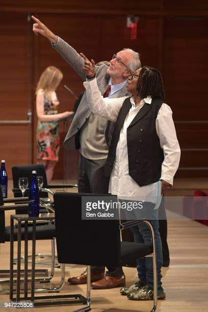 Academy Museum Architect Renzo Piano and Academy Governor Whoopi Goldberg attend the Academy Museum Conversation at The Times Center featuring Whoopi...