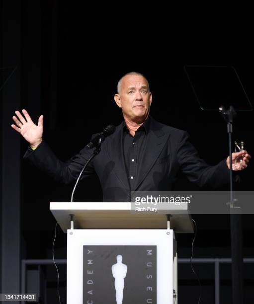 Academy Museum of Motion Pictures trustee Tom Hanks speaks onstage during the Academy Museum Opening Press Conference at Academy Museum of Motion...