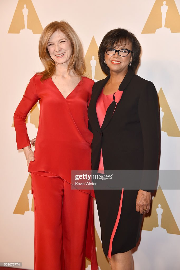 Academy of Motion Picture Arts and Sciences CEO Dawn Hudson (L) and Academy of Motion Picture Arts and Sciences President Cheryl Boone Isaacs attend the 88th Annual Academy Awards nominee luncheon on February 8, 2016 in Beverly Hills, California.