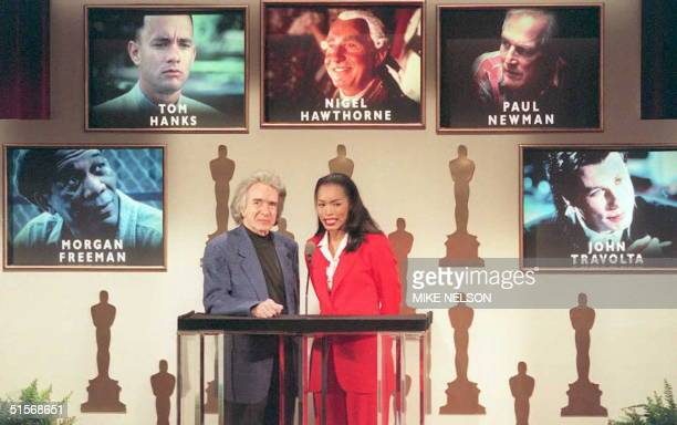 Academy of Motion Picture Arts and Sciences President Arthur Hiller and actress Angela Bassett announce the nominations for Best Performance by an...