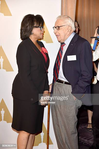 Academy of Motion Picture Arts and Sciences President Cheryl Boone Isaacs and producer Walter Mirisch attend the 88th Annual Academy Awards nominee...