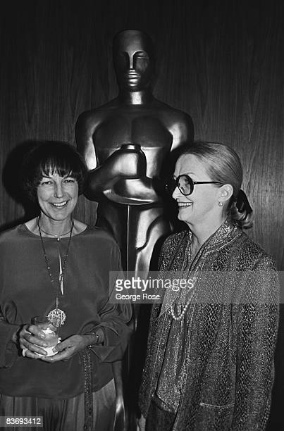 Academy of Motion Picture Arts and Sciences President Fay Kanin and actress Nina Foch honor director George Cukor at a 1983 Beverly Hills California...