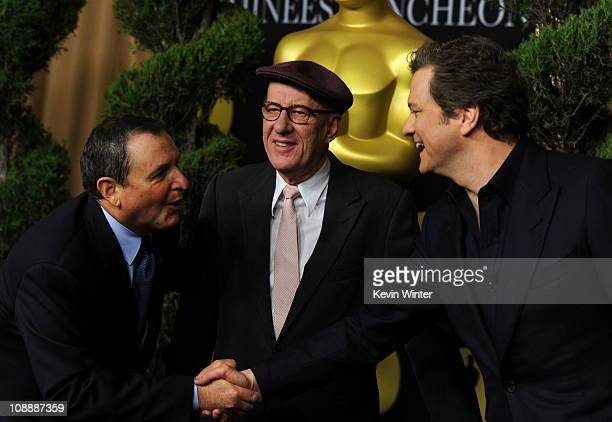 Academy of Motion Picture Arts and Sciences President Tom Sherak actors Geoffrey Rush and Colin Firth arrive at the 83rd Academy Awards nominations...