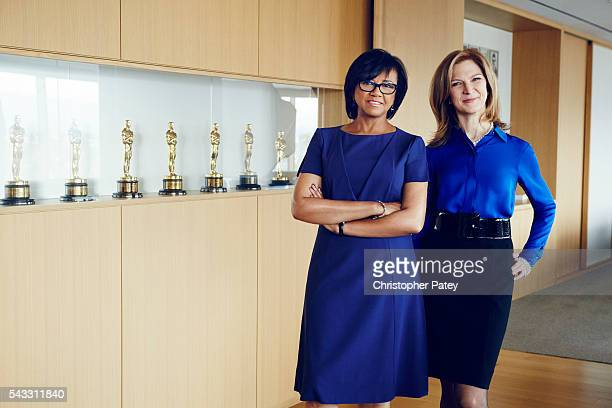 Academy president Cheryl Boone Isaacs and CEO Dawn Hudson are photographed for The Hollywood Reporter on January 23 2016 in Los Angeles California...