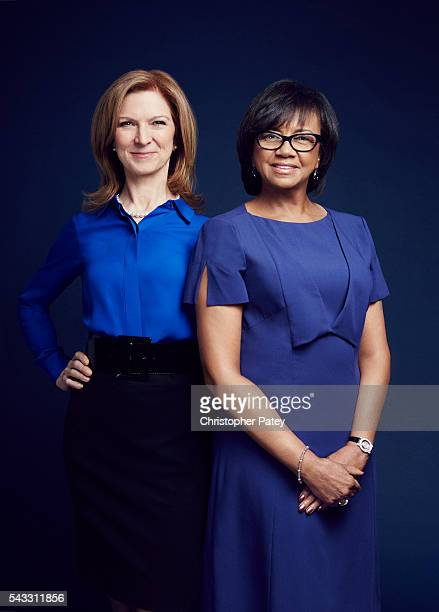 Academy president Cheryl Boone Isaacs and CEO Dawn Hudson are photographed for The Hollywood Reporter on January 23 2016 in Los Angeles California