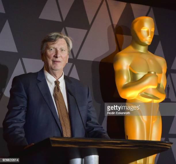 Academy President John Bailey speaks onstage portrait at The Oscars Foreign Language Film Award Directors Reception at the Academy of Motion Picture...