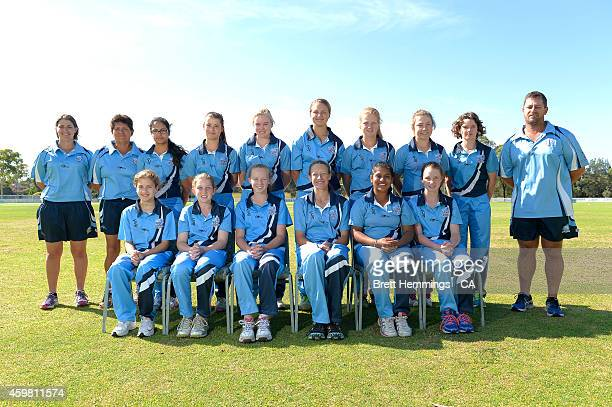 Academy XI players and staff pose for a photo during the Under 15 female championships at Raby Oval on December 2 2014 in Campbelltown Australia
